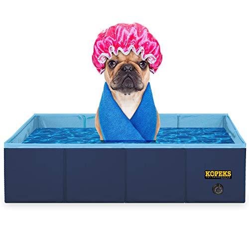 KOPEKS Outdoor Rectangular Swimming Pool Bathing Tub - Portable Foldable - Small - 31 x 20 - Blue