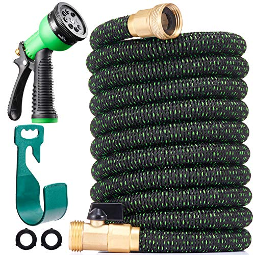 150 ft Expandable Garden Hose - All New 2020 Retractable Water Hose with 34 Solid Brass Fittings Extra Strength Fabric - Heavy Duty Flexible Expanding Hose with 8 Pattern Spray Nozzle Hose Holder