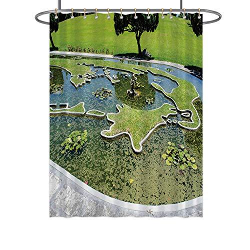 Hitecera Watergarden mapFabric Shower Curtain 152608 for Bathroom 71 in by 59 in WxH