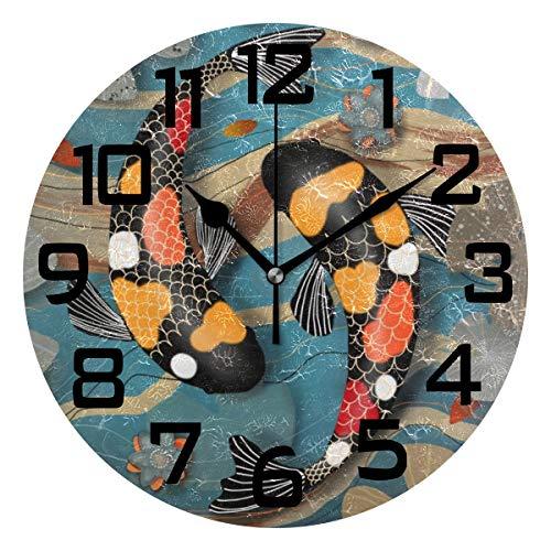 Koi Watergarden Round Acrylic Wall Clock Silent Non Ticking Battery Decorative Home Kitchen Classroom Office School