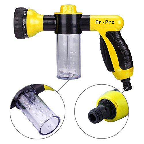 Garden Hose Nozzle - Mrpro Hand Spray Nozzle Heavy Duty High Pressure 8 Adjustable Patterns Watering Nozzle Sprayer
