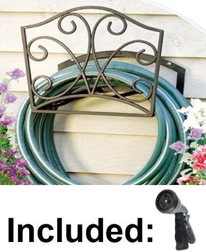 Garden Hose Holder - Decorative Bronze Metal Wall Mount Hanger Rack Including Spray Nozzle