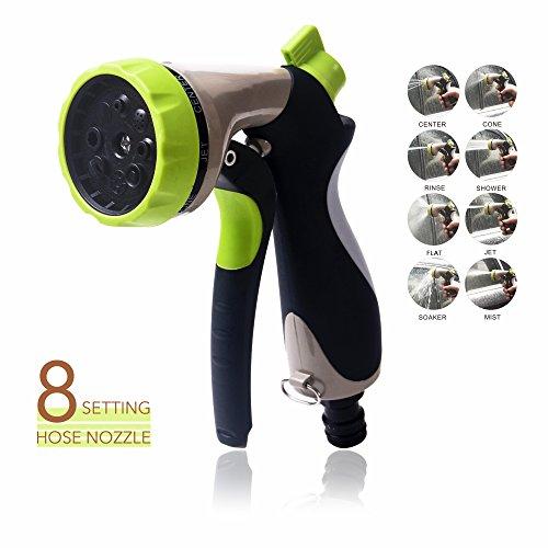 Garden Hose Nozzle Crystalmx Garden Spray Gun Water Hose Head Nozzle With 8 Pattern Adjustable Heavy Duty Metal