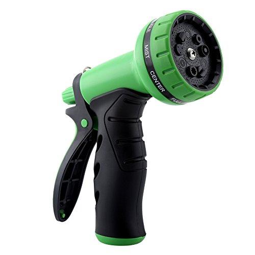 Gdealer Garden Hose Nozzle 9 Pattern Hand Spray Nozzle Heavy Duty Hand Free Clip High Pressure Water Hose Nozzle