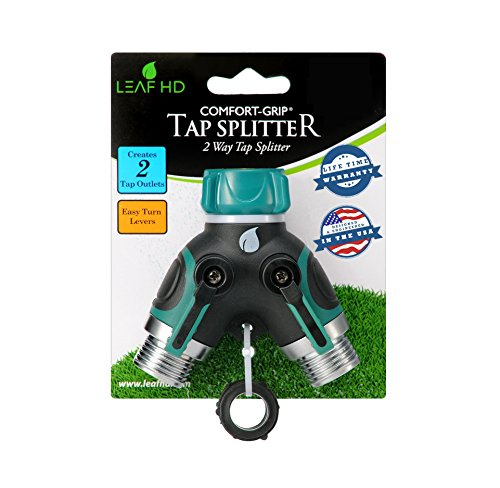 Leaf Hd Zx-9 Garden Hose Splitter Y Ball Valve Connector With Soft Touch Easy Turn Levers Bundle With 3 Rubber