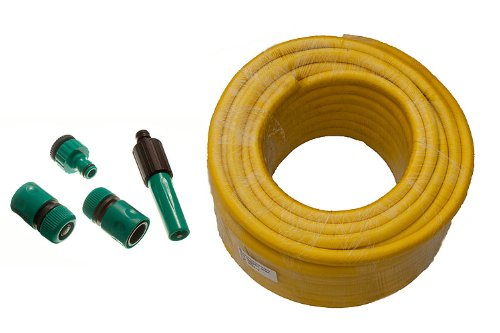Yellow Garden Hose Pipe Braded Pro Anti Kink Length 60M Bore 12Mm  Fittings