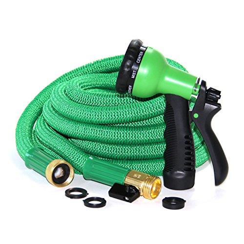 50 Ft Kink Free Triple Latex Core - Green Expanding Garden Hose - Ultra Durable Inner Tube Commercial Grade Brass
