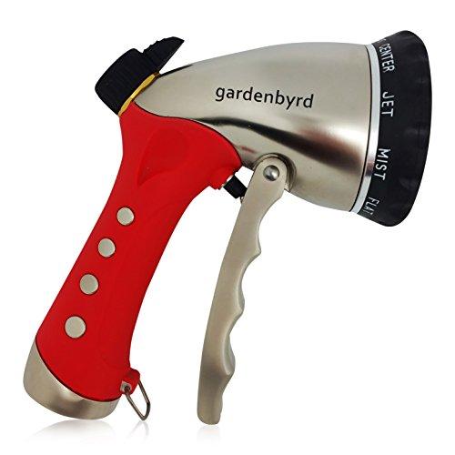 Gardenbyrd Hose Nozzlendash Metal Garden Hose Nozzle With Pressure Flow Control 10 Pattern Black Red