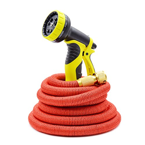 Ludan 2016 New 50 Feet Expandable Garden Hose Strongest Expandable Hose With Strong Solid Brass Connectors Fittings