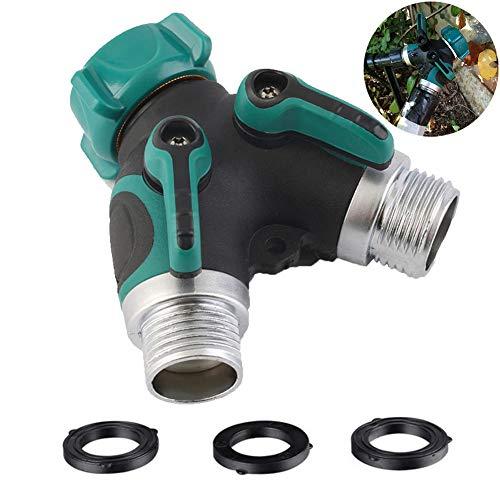 Queentres Garden Hose Splitter 2 Way Water Pipe Tap Connector Y Shape Garden Hose Adapter with Comfort Grip