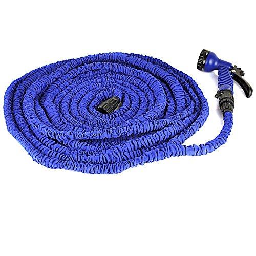 KLARENÂ 100ft Latex Expanding Hose Magic Flexible Expandable Garden Water Hose with 8 Functions Spray Nozzle Blue 100FT US Best seller