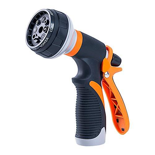 heavKin-Home Garden Hose Nozzle Watering Spray Gun High Pressure Sprinkler with 8 Patterns Orange 165 × 165 × 6cm