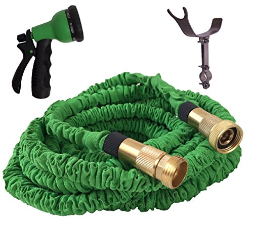 100 FOOT GREEN EXPANDABLE Garden Hose Strongest Expanding Hose Stainless Steel Holder pat pend Brass Fittings with Strain Reliever Rugged Nylon Fabric Double Latex Core 8 Way Sprayer Green