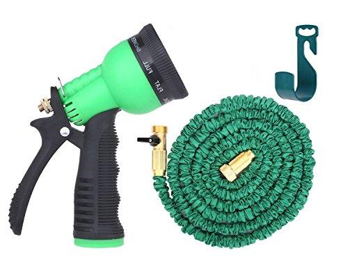 Econoled Brass Connectors Expandable Garden Hose - 50ft Green Kink Flexible - The Best Expanding Garden Hose