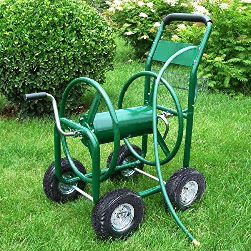 MasterPanel - Garden Water Hose Reel Cart 300FT Outdoor Heavy Duty Yard Planting WBasket TP3417