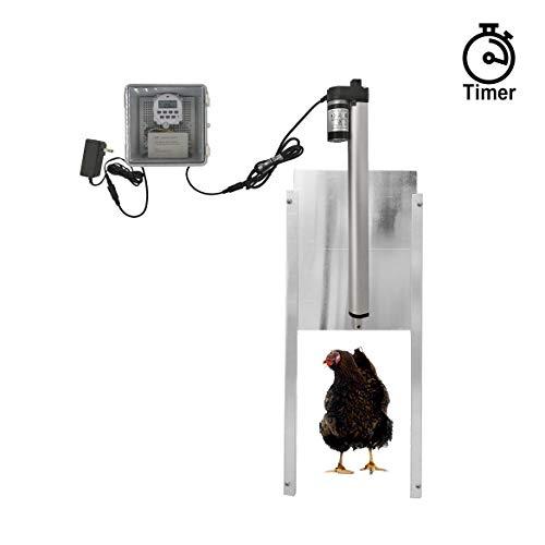 JVR Automatic Chicken Door Coop Opener Kit Waterproof Outdoor Timer Controller Actuator Motor 12V DC Power Supply Timing