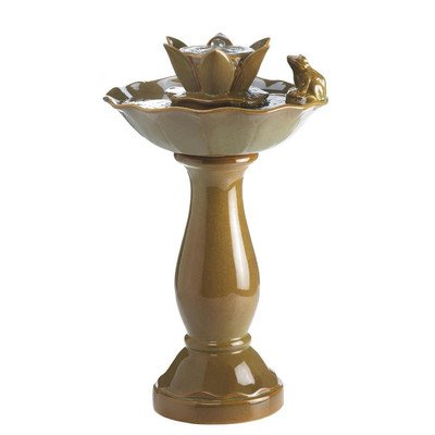 Outdoor Garden Ceramic Lotus Pond Frog Fountain - Brown