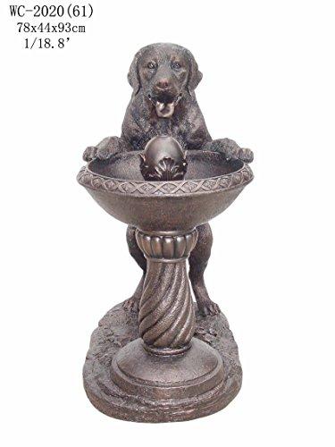 Outdoor Indoor Garden Patio Labrador Dog Statue Sculpture Water Fountain Bronze Color 37&quoth