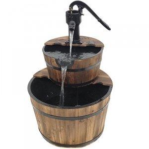 Two-tier Wooden Barrel Fountain