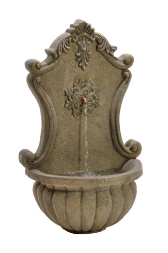 Birdrock Garden Stonecast Wall Water Fountain | Aged Granite | Includes Water Pump