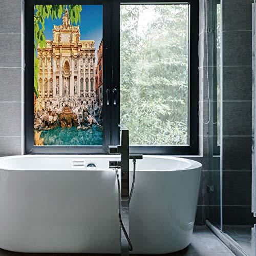 C COABALLA Decorative Privacy Window FilmItalyfor Fome Bedroom Kitchen OfficeFountain Di Trevi Famous Travel Destination Tourist Attraction24x48