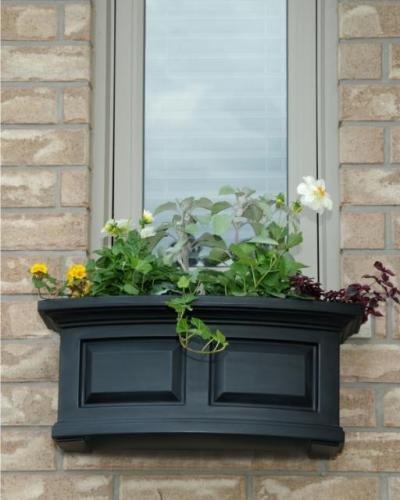 Mayne Nantucket 24 Window Box Combo with Corbel Brackets - Black 2