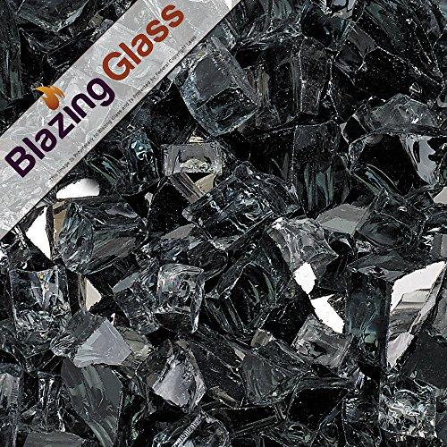 Blazing Fireglass 20-Pound Reflective Fire Glass with Fireplace Glass and Fire Pit Glass 12-Inch Gray