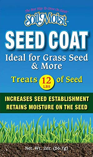 Soil Moist Seed Coat 2oz - Treats 12lbs Dry Seeds - Water Saving Coating Mix for Plants Grass Landscaping