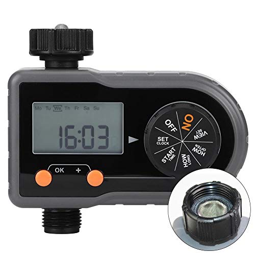 Junluck Water Timer IP54 Waterproof G34 DN20 Garden Irrigation Timing Controller Automatic Flower Watering Machine Irrigation System with 25In LCD Display ScreenUS Standard Thread
