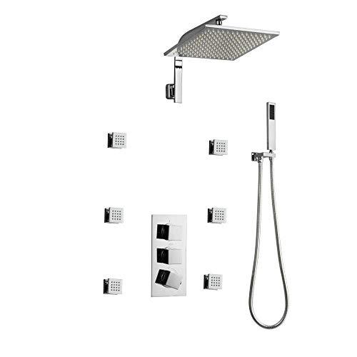 Shower Rain System 4-Function Bathroom Rain Mixer Set with 12 Rain Head 3 Spray Hand Chrome12inches