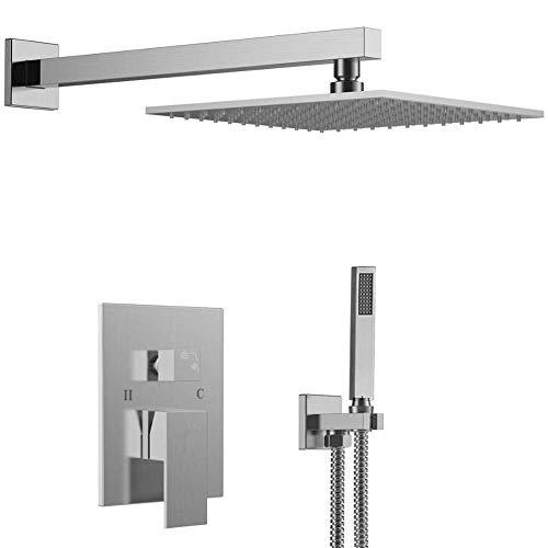 ZXY-NAN Handheld Showerheads Hand held Wall-Mounted Rain Shower Head System Shower Set Bathroom Durable Color  Silver Bathroom Accessories