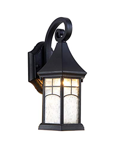 EERU Wall Sconce Outdoor Wall Lamp Modern Exterior Light Fixtures WaterproofBlack Cast AluminumClear Bubble Glass Small House Decor for Wall GarageFront Porch