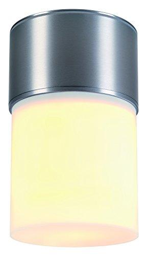 SLV Lighting 3230720U Rox Acrylic C Outdoor Ceiling Lamp with White Shade Brushed Aluminum Finish