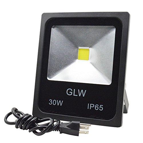 GLW 30w LED Flood Lights Outdoor Security Light Daylight White Waterproof Floodlight Lamp 3000lm 200w Halogen Bulb Equivalent Added Plug