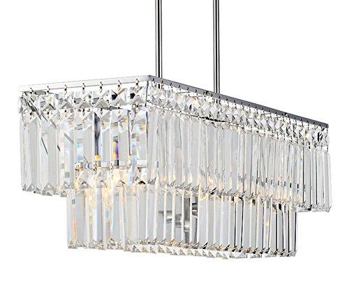 APBEAM Clear K9 Modern Crystal Pendant Light Flush Mount Dining Room Light Fixtures Polish Chrome Finish Rectangle Rain Drop Chandeliers Restaurant Lamp Island Lighting L26 x H9