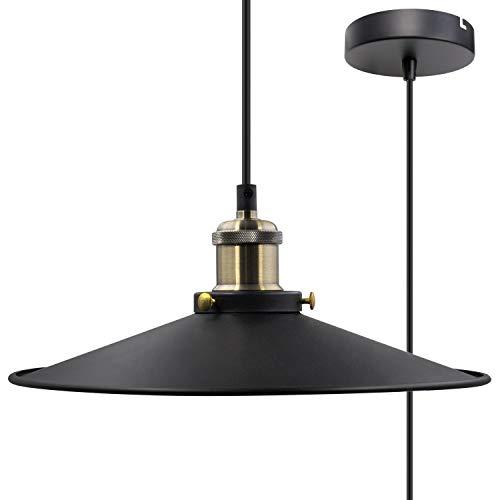 Black Pendant Light Shade Vintage Metal Ceiling Hanging Lamp Shade Pendant Light Fixture for Kitchen Dining Room Restaurant Maximum 2 Meters Suspension Height by Enuotek