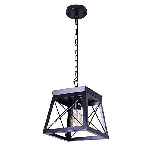 Ncmoyin Metal Country ChandeliersRetro Black Pendant Light Loft Ceiling Light LuminaireSmall Dining Room Light Fixture