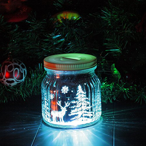 Candle Choice Living Jar Indoor Outdoor Battery-operated Jar Light With Remote And Timer Reindeers And Christmas