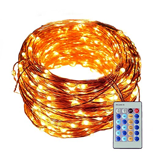 Ucharge Outdoor String Lights99ft 300LEDS Copper Wire Starry Lights with Remote Control Waterproof for Garden Trees Home Wedding Christmas Party Outdoor and IndoorWarm White