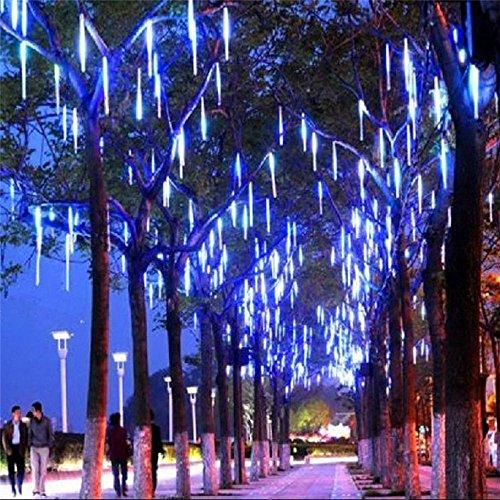 LED Meteor Shower Rain Lights Outdoor String Lights Waterproof Garden Lights 30cm 8 Tubes 144leds Snow Falling Raindrop Cascading light for Holiday Wedding Xmas Tree Decor Blue Color