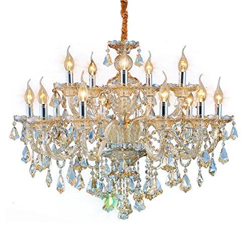 Poersi Amber Chandelier Lighting Contemporary Crystal Chandelier for Dining Room Light Fixtures Modern LED Chandelier Ceiling Hanging Pendant Light Crystal Lamps