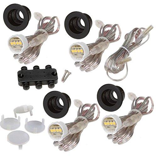 DEKOR LED Recessed Stair Lights Step Lighting for Indoor Outdoor Use Antique Metal Black Add-On 4 Pack