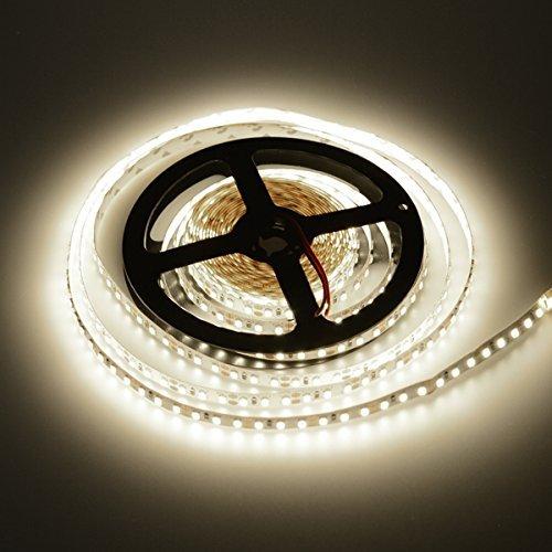 elcPark 164ft5m Warm White SMD 2835 600LEDs Flexible LED Strip Light Non-Waterproof IP20 DC12V Super Bright 15lmled 3000K Indoor Lightings