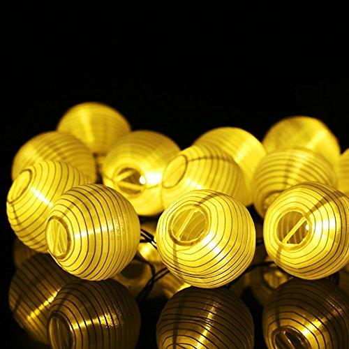 Christmas String Lights Powstro Solar Powered Globle String Light 157ft48m 20-LED Lantern Lamp For Outdoor Garden Lighting Christmas Decoration Warm White