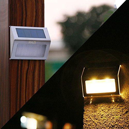 Maze Stainless Steel Solar Powered Waterproof Outdoor StepGarden Lights 2-Pack