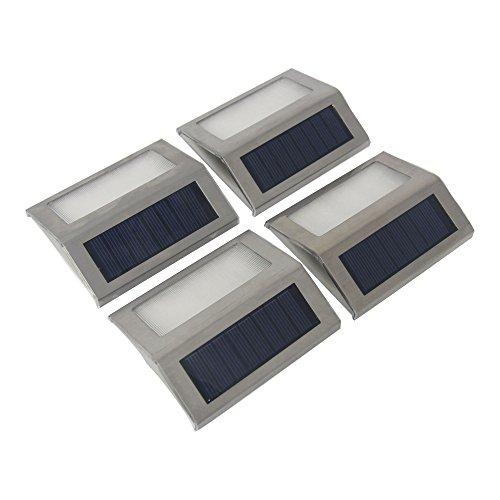 Signstek upgraded Version 4 Pack 3 Led Solar Light - Outdoor Stainless Steel Solar Powered Wireless Step Light
