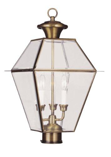 Livex Lighting 2384-01 Westover 3-light Outdoor Post Head Antique Brass