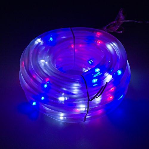 GreenLighting 32 Solar Power Christmas Rope Lights w 100 LEDs RedWhiteBlue