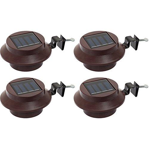 GreenLighting Solar Powered LED Roof Gutter Light Brown 4 Pack