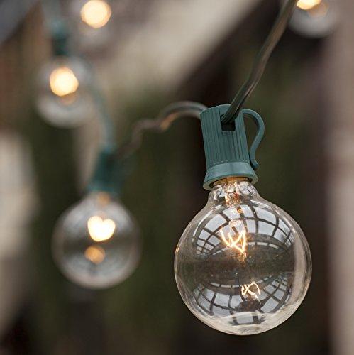 Wintergreen Lighting Patio String Lights Green Wire G50 Globe Lights Outdoor String Lights Patio Light Strings